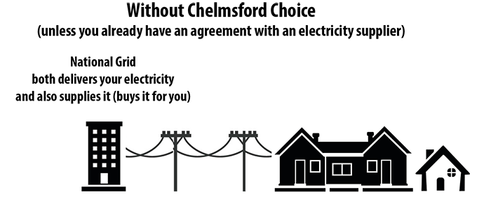 Diagram showing National Grid both supplying and delivering electricity