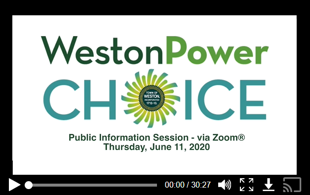 Watch the public presentation about Weston Power Choice from Thursday, June 11, 2020