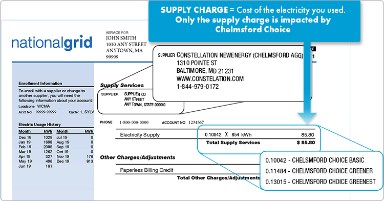 Supply services portion of the National Grid bill